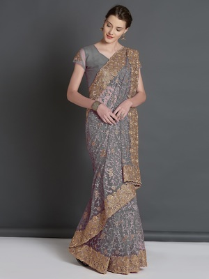 Grey woven cotton silk saree with blouse