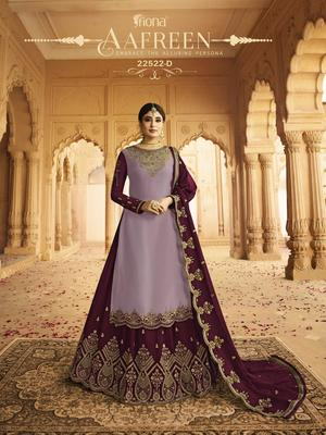 Purple embroidered silk salwar