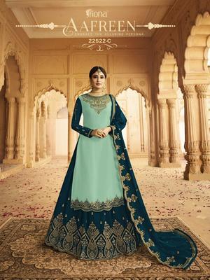 Royal-blue embroidered silk salwar