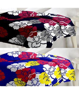 Set of floral print Design Single Bed Reversible AC Blanket