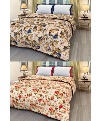Set of 2 floral print Design Single Bed Reversible AC Blanket