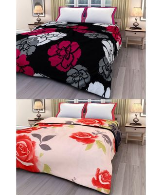 Set of 2 floral print Design Single Bed Reversible AC Blanket