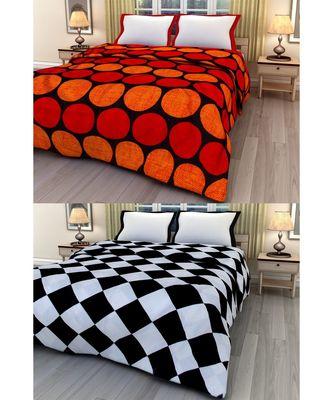Set of 2 geometric print Design Single Bed Reversible AC Blanket