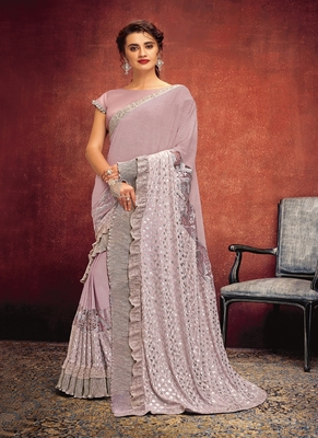 light pink printed lycra saree with blouse