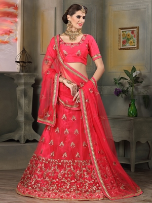 PINK EMBROIDERED NET UNSTITCHED LEHENGA