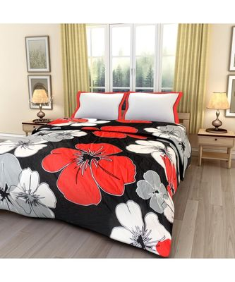 Red and Black floral print Printed Single Bed Reversible AC Blanket