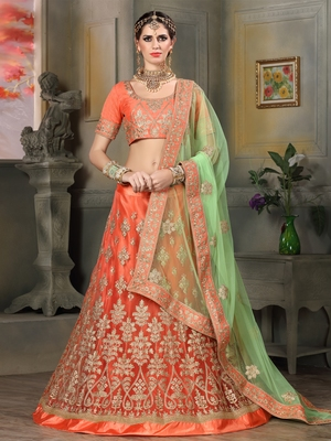 ORANGE EMBROIDERED NET UNSTITCHED LEHENGA