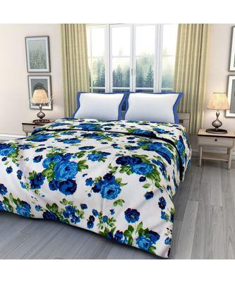 Blue floral print Printed Single Bed Reversible AC Blanket