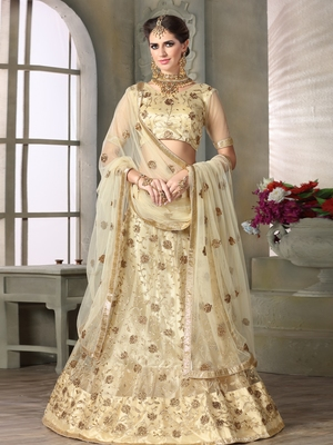 BEIGE EMBROIDERED NET UNSTITCHED LEHENGA WITH DUPATTA