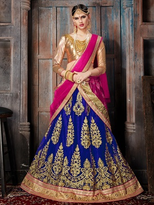 BLUE EMBROIDERED NET SEMI STITCHED LEHENGA WITH DUPATTA