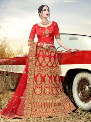 EMBROIDERED ART SILK SEMI STITCHED LEHENGA