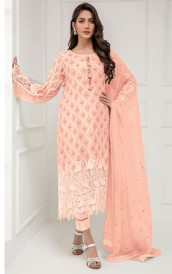 Peach embroidered georgette salwar