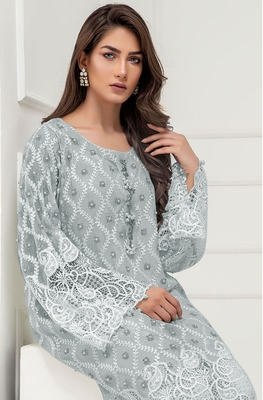 Light-grey embroidered georgette salwar