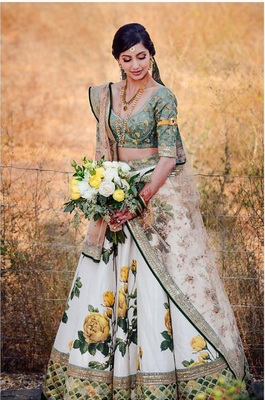 Yellow thread embroidery silk semi stitched lehenga