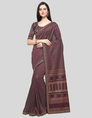 Wine embroidered silk blend saree with blouse