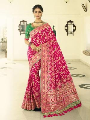 Dark Pink Embroidered Banarasi Silk Saree With Blouse
