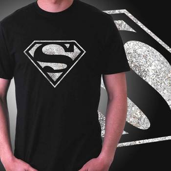 Superman Mens Glitter T-shirt at Offer,Mens Silver Special Effect Tshirt