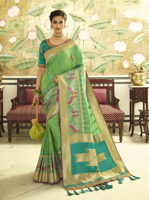 Parrot green embroidered banarasi silk saree with blouse