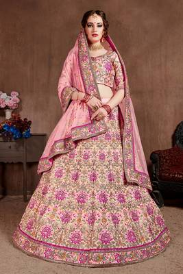 Pink thread embroidery silk semi stitched lehenga