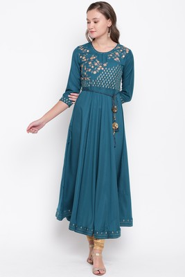 Blue embroidered cotton silk cotton-kurtis