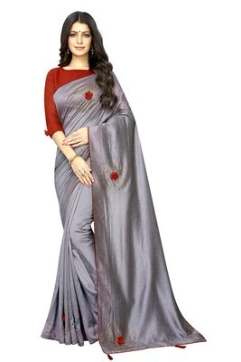 Grey embroidered silk saree with blouse