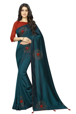 Teal embroidered silk saree with blouse
