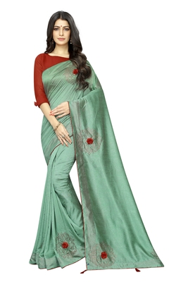 Sky blue embroidered silk saree with blouse