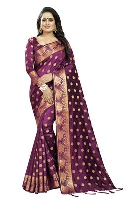 Wine embroidered banarasi saree with blouse
