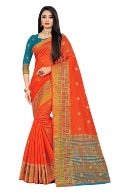 Rust woven cotton silk saree with blouse