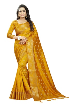 Mustard embroidered banarasi saree with blouse