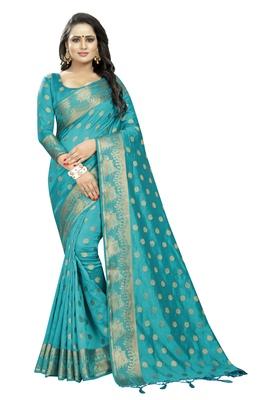 Turquoise embroidered banarasi saree with blouse