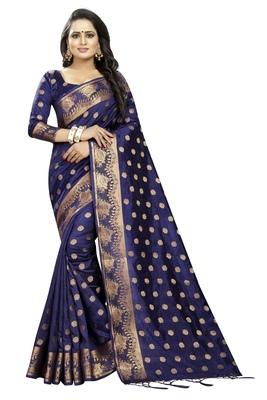 Navy blue embroidered banarasi saree with blouse
