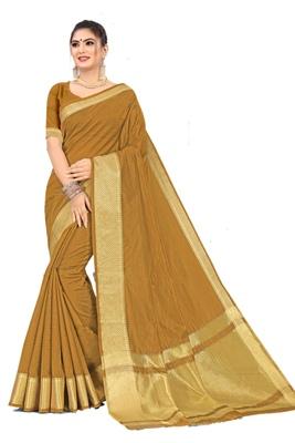 Mustard woven silk saree with blouse