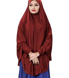 Maroon Color Stitched Jersey Cotton Islamic Chaderi Hijab With Veil And Sleeves