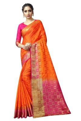 Orange printed nylon saree with blouse
