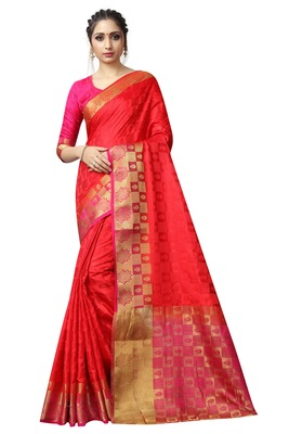 Red printed nylon saree with blouse