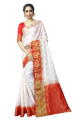 White printed nylon saree with blouse