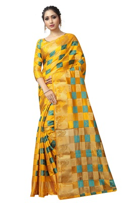 Yellow printed nylon saree with blouse