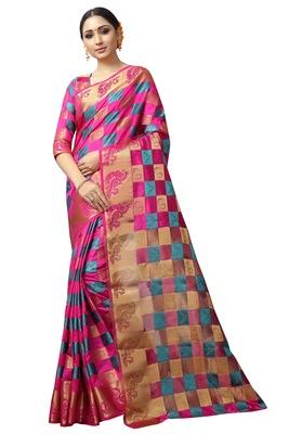 Pink printed nylon saree with blouse
