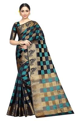 Black printed nylon saree with blouse