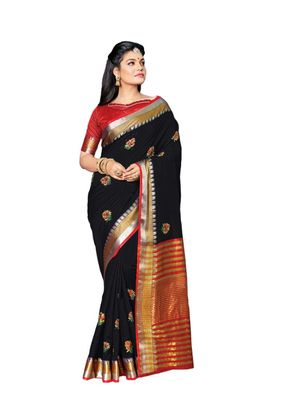 Black embroidered cotton saree with blouse