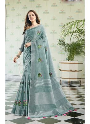 Blue embroidered linen saree with blouse