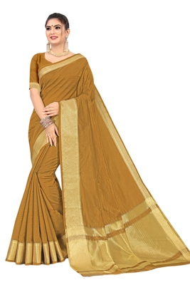 Brown woven organza saree with blouse