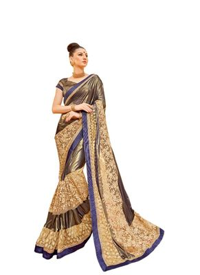 Cream embroidered lycra saree with blouse