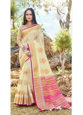 Cream woven linen saree with blouse