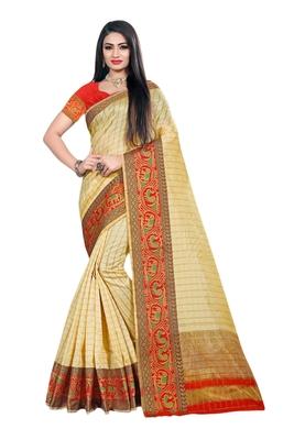 Cream woven organza saree with blouse