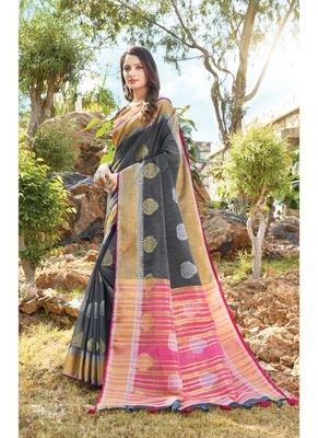 Dark grey woven linen saree with blouse