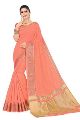 Dark peach woven organza saree with blouse