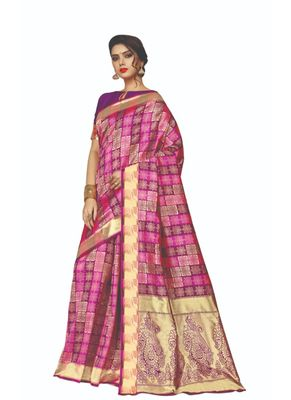 Dark pink woven jacquard saree with blouse