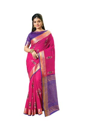 Dark pink embroidered cotton saree with blouse